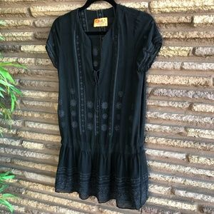 Juicy Couture Black Embroidered Sheer Silk Top
